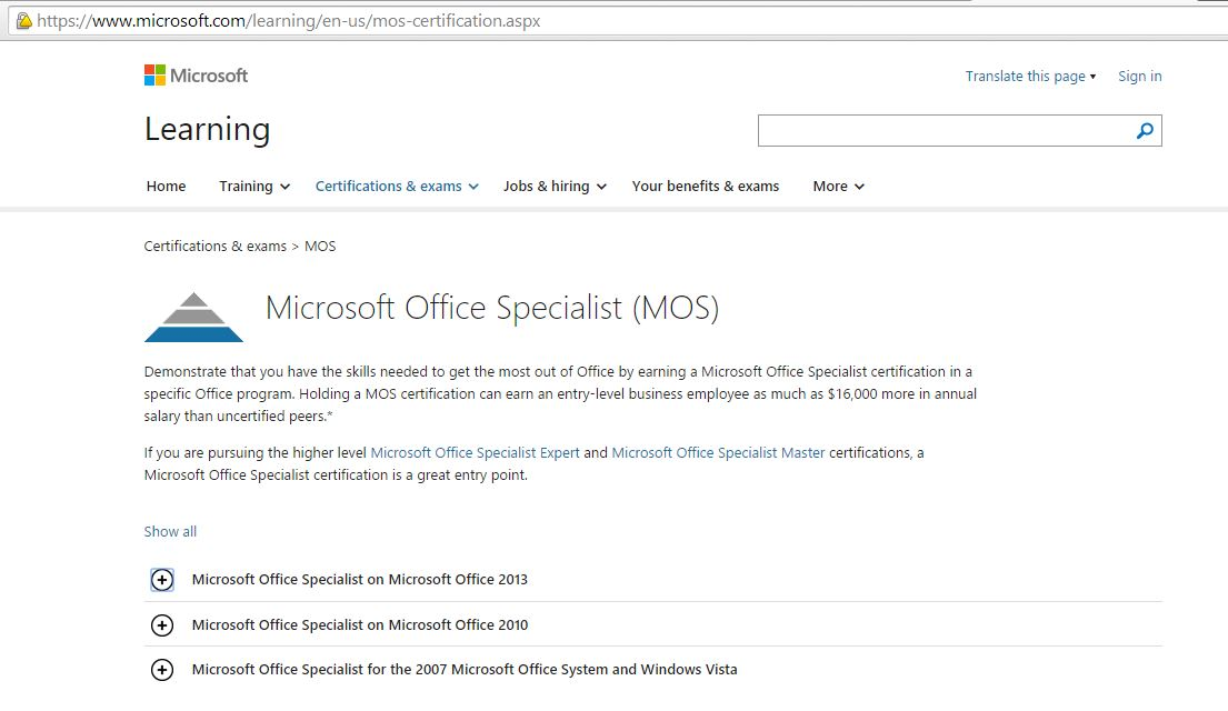 Mc Official Microsoft Office Specialist Testing Center