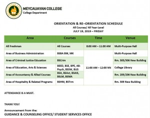 Orientation of the College Students