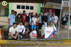 MC extends assistance to Taal Volcano victims